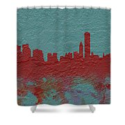 Chicago Skyline Brick Wall Mural  Shower Curtain