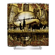 Chicago Skyline Drawing Collage 3 Shower Curtain