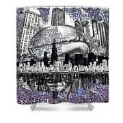 Chicago Skyline Drawing Collage Shower Curtain