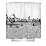 Chicago Skyline Hard Ink Shower Curtain