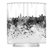 Chicago Skyline In Black Watercolor On White Background Shower Curtain