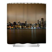 Chicago Skyline In Fog With Reflection Shower Curtain