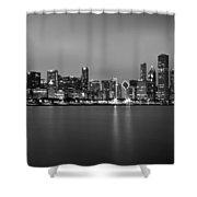 Chicago Skyline In Fog With Reflection - Black And White Shower Curtain