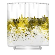 Chicago Skyline In Yellow Watercolor On White Background Shower Curtain
