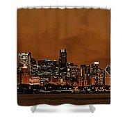 Chicago Skyline Panorama At Dusk Shower Curtain