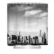 Chicago Skyline Panoramic Black And White Picture Shower Curtain