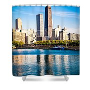 Chicago Skyline Picture With Hancock Building Shower Curtain