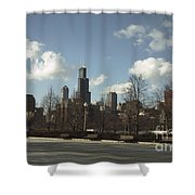 Chicago Skyline Postcard Shower Curtain