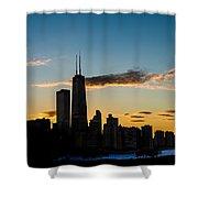 Chicago Skyline Silhouette Shower Curtain by Steve Gadomski
