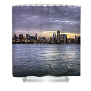 Chicago Skyline Sunset Shower Curtain