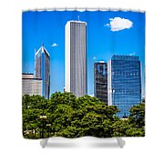 Chicago Skyline With Grant Park Trees Shower Curtain