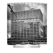 Chicago Sun Times Facade After The Storm Bw Shower Curtain