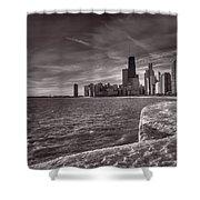 Chicago Sunrise Bw Shower Curtain
