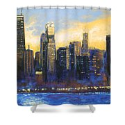 Chicago Sunset Looking South Shower Curtain