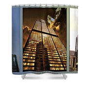 Chicago Tall Shoulders Trump Sears 333 W Wacker Triptych 3 Panel 01 Shower Curtain