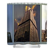 Chicago Tall Shoulders Trump Sears 333 Wacker Triptych 3 Panel 03 Shower Curtain