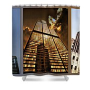 Chicago Tall Shoulders Trump Sears Tribune Triptych 3 Panel 01 Shower Curtain