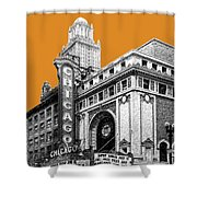 Chicago Theater - Dark Orange Shower Curtain