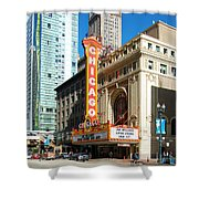 Chicago Theater Marquee Sign On State Street Shower Curtain