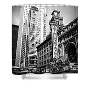 Chicago Theatre Black And White Picture Shower Curtain