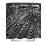 Chicago Transportation 02 Black And White Shower Curtain