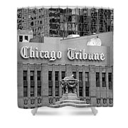 Chicago Tribune Facade Signage Bw Shower Curtain