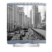 Chicago Triptych 3 Panel Black And White Shower Curtain