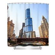 Chicago Trump Tower At Michigan Avenue Bridge Shower Curtain by Paul Velgos