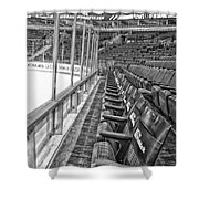 Chicago United Center Before The Gates Open Blackhawk Seat One Bw Hdr Shower Curtain