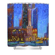 Chicago Water Tower At Night Shower Curtain