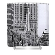 Chicago Water Tower Beacon Black And White Shower Curtain