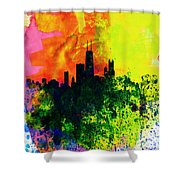 Chicago Watercolor Skyline Shower Curtain