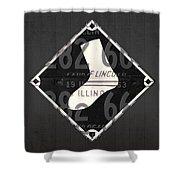 Chicago White Sox Baseball Vintage Logo License Plate Art Shower Curtain