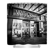 Chicago Willis-sears Tower Sign In Black And White Shower Curtain by Paul Velgos