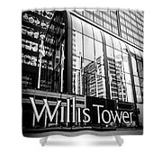 Chicago Willis Tower Sign In Black And White Shower Curtain by Paul Velgos