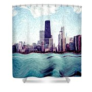 Chicago Windy City Digital Art Painting Shower Curtain