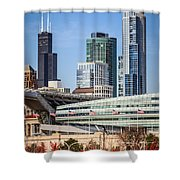 Chicago With Soldier Field And Sears Tower Shower Curtain by Paul Velgos