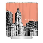 Chicago Wrigley Building - Salmon Shower Curtain