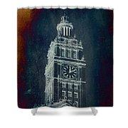 Chicago Wrigley Clock Tower Textured Shower Curtain