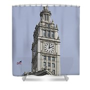 Chicago Wrigley Clock Tower Shower Curtain