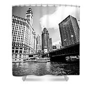 Chicago Wrigley Tribune Equitable Buildings Black And White Phot Shower Curtain