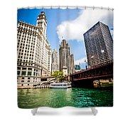 Chicago Wrigley Tribune Equitable Buildings Photo Shower Curtain
