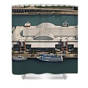Chicago's Navy Pier Aerial Panoramic Shower Curtain by Adam Romanowicz