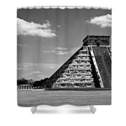 Chichen Itza Blk Wht Shower Curtain