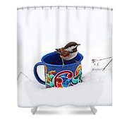 Chickadee And Tin Cup In Snow Shower Curtain