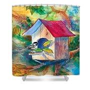 Chickadee Bungalow Shower Curtain