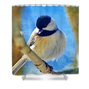 Chickadee On A Bright Day -digital Paint I Shower Curtain