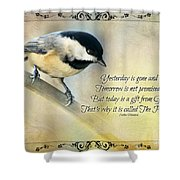 Chickadee With Inspiration Shower Curtain
