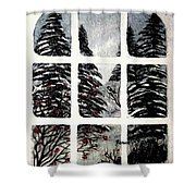 Chickadees And Dogberries Abstraction Shower Curtain