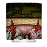 Chicken - Chick Flick Shower Curtain by Mike Savad